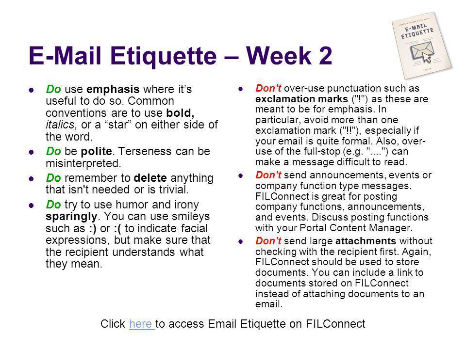 E-Mail Etiquette – Week 2