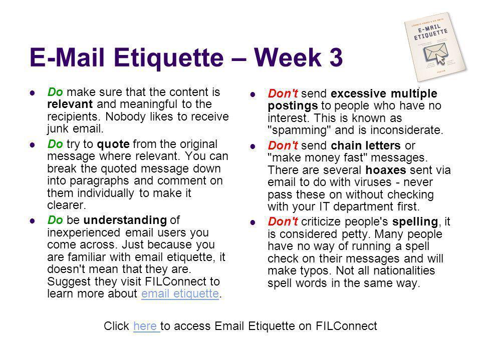 E-Mail Etiquette – Week 3