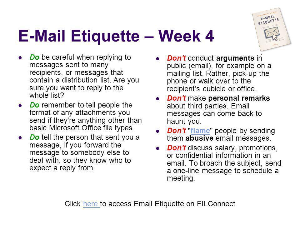 E-Mail Etiquette – Week 4