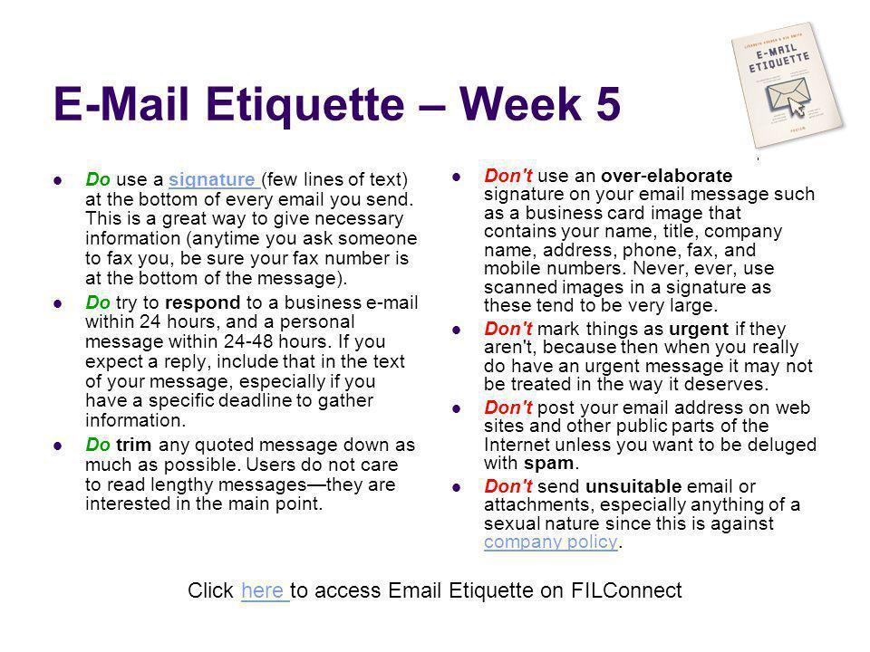 E-Mail Etiquette – Week 5