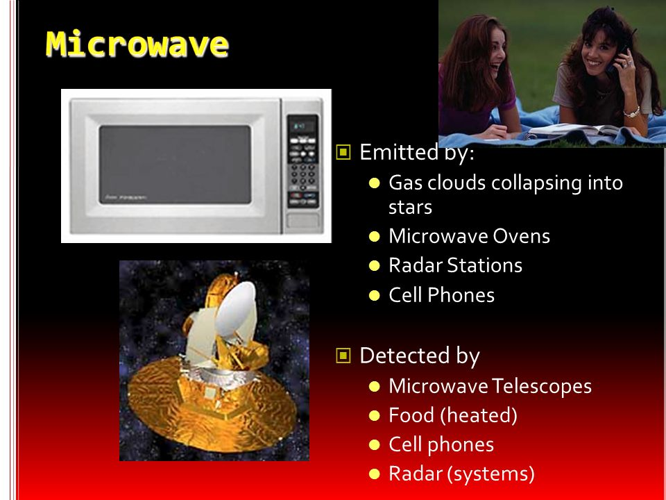 Microwave Emitted by: Detected by Gas clouds collapsing into stars