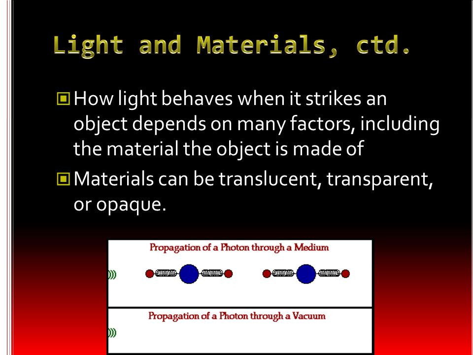 Light and Materials, ctd.
