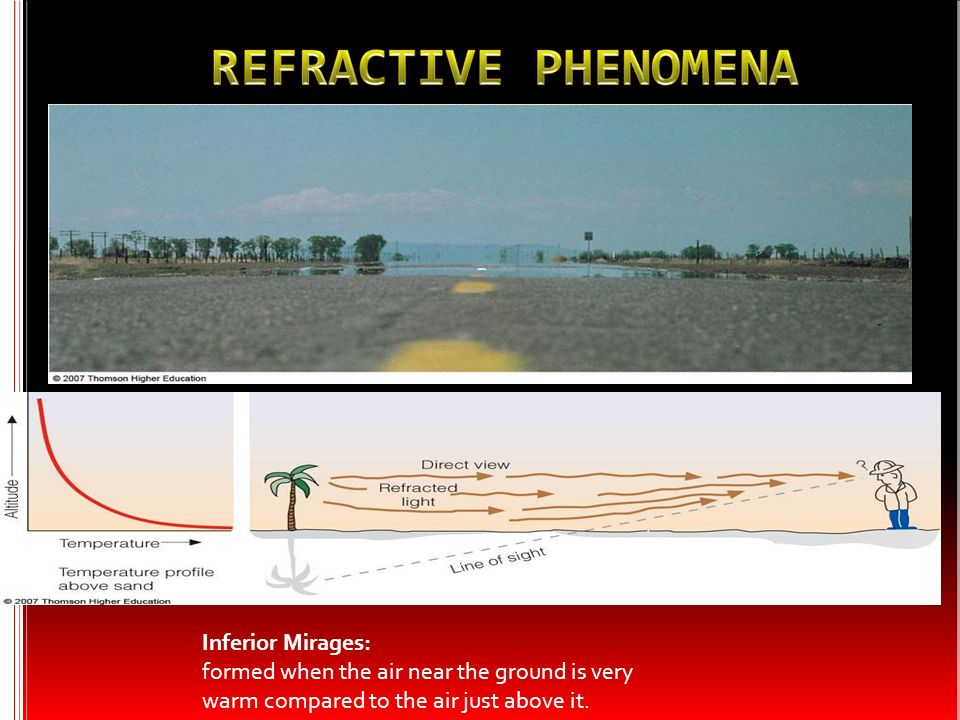 Inferior Mirages: formed when the air near the ground is very warm compared to the air just above it.