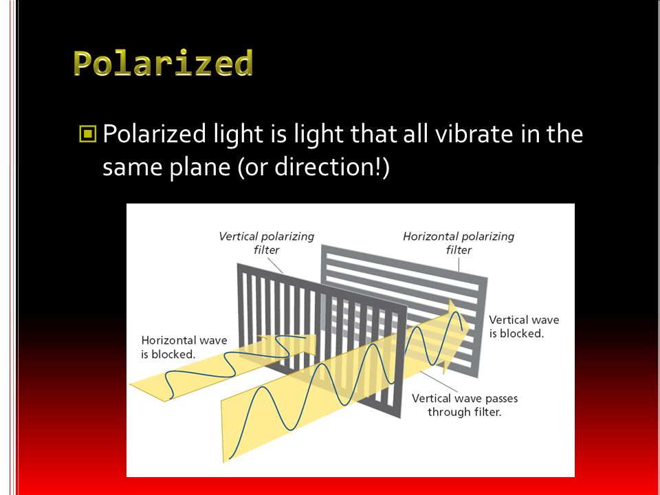 Polarized Polarized light is light that all vibrate in the same plane (or direction!)