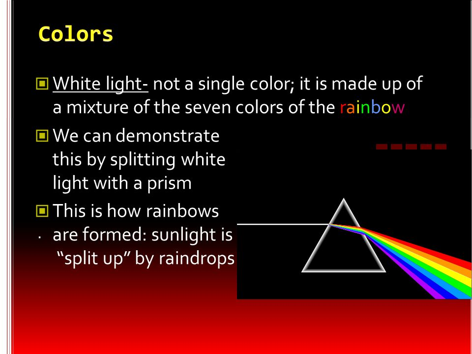 We can demonstrate this by splitting white light with a prism