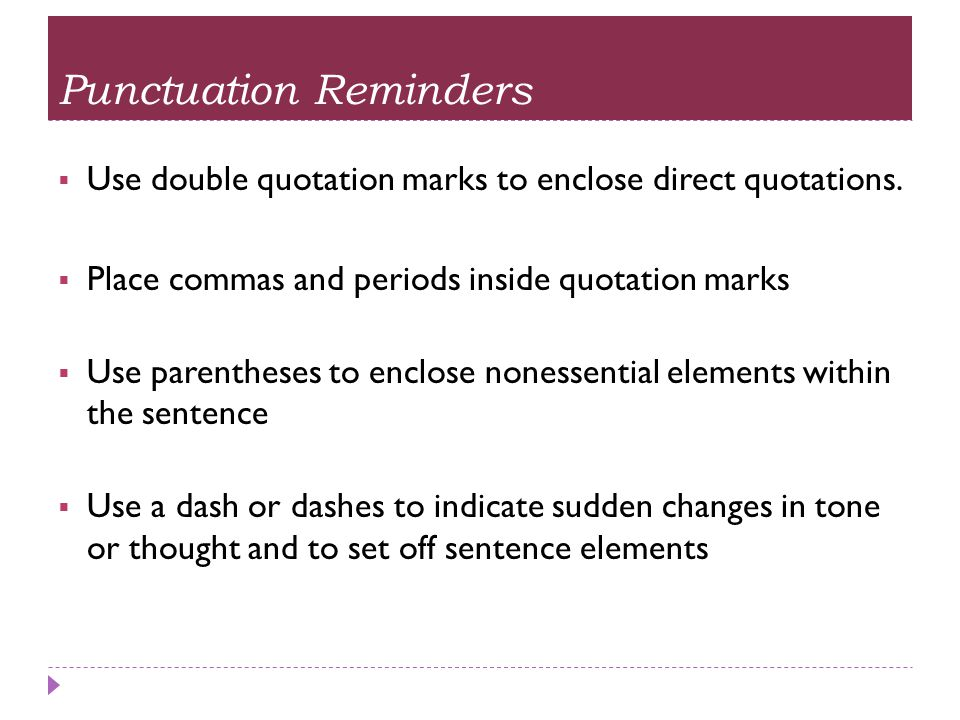 Punctuation Reminders