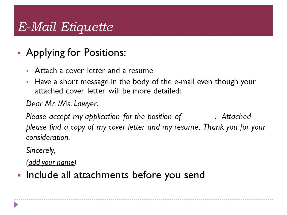 cover letter email resume attached