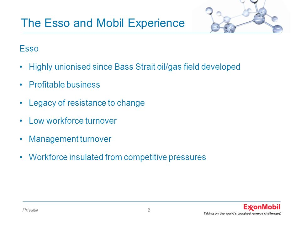 The Esso and Mobil Experience