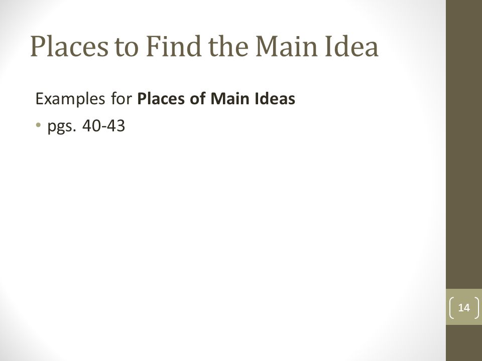 Places to Find the Main Idea