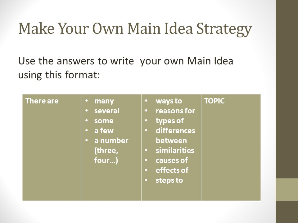 Make Your Own Main Idea Strategy