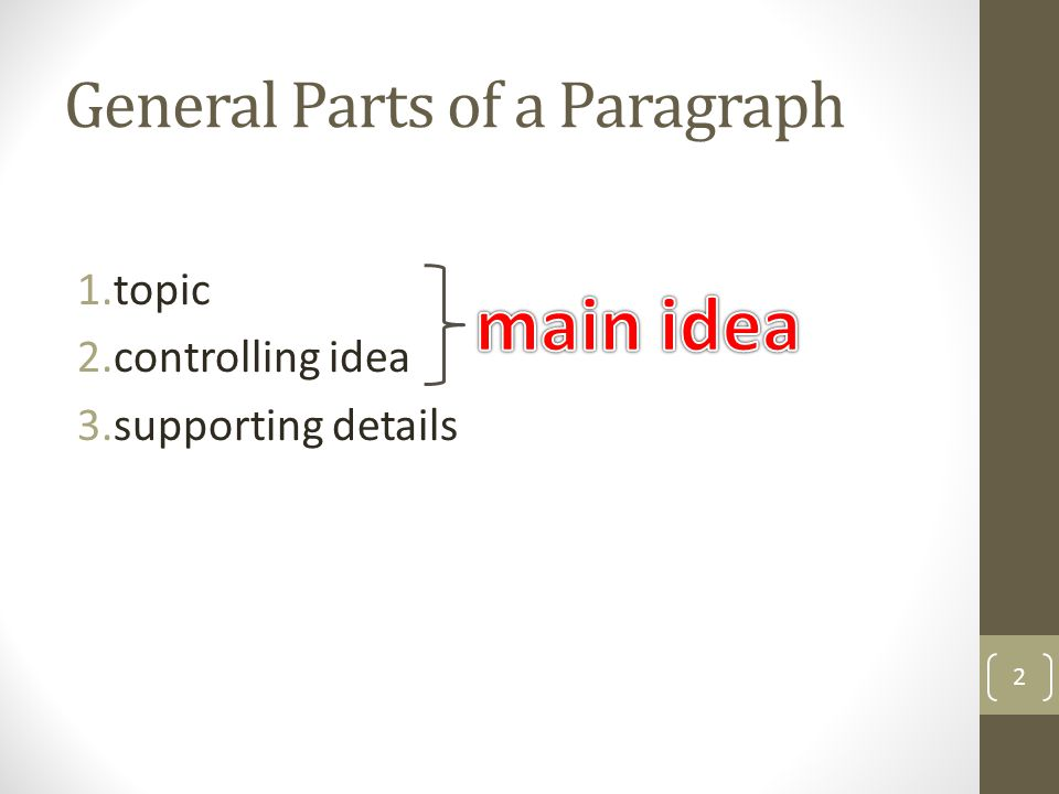 General Parts of a Paragraph