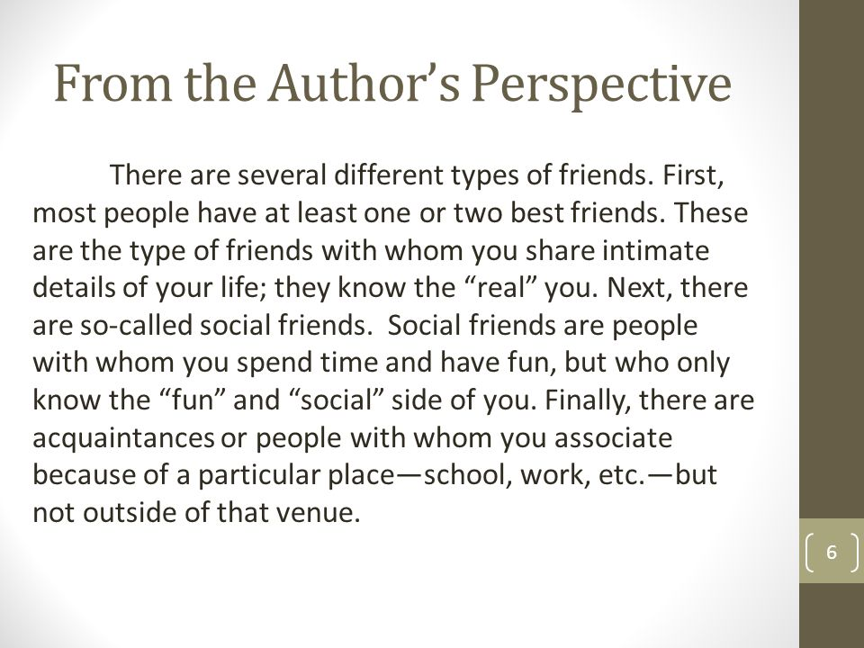 From the Author's Perspective