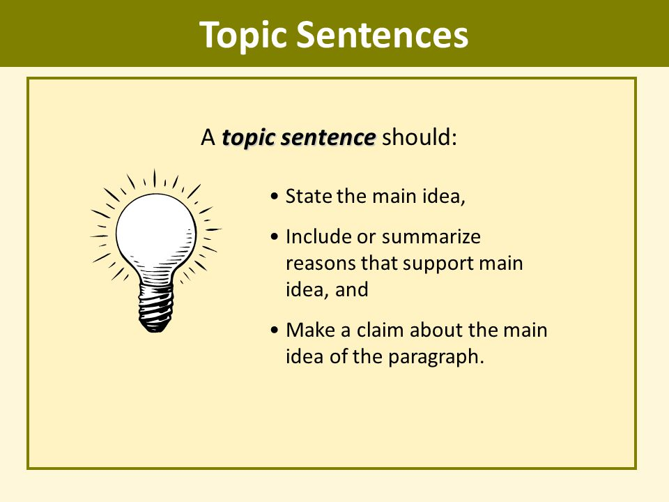 what is a topic sentence pdf