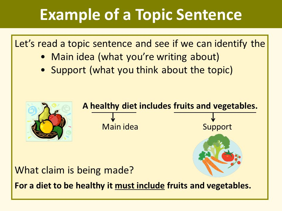 topic sentence example 1 exercises on paragraph writing a) topic sentences the topic sentence is the most important sentence of a paragraph it states the.