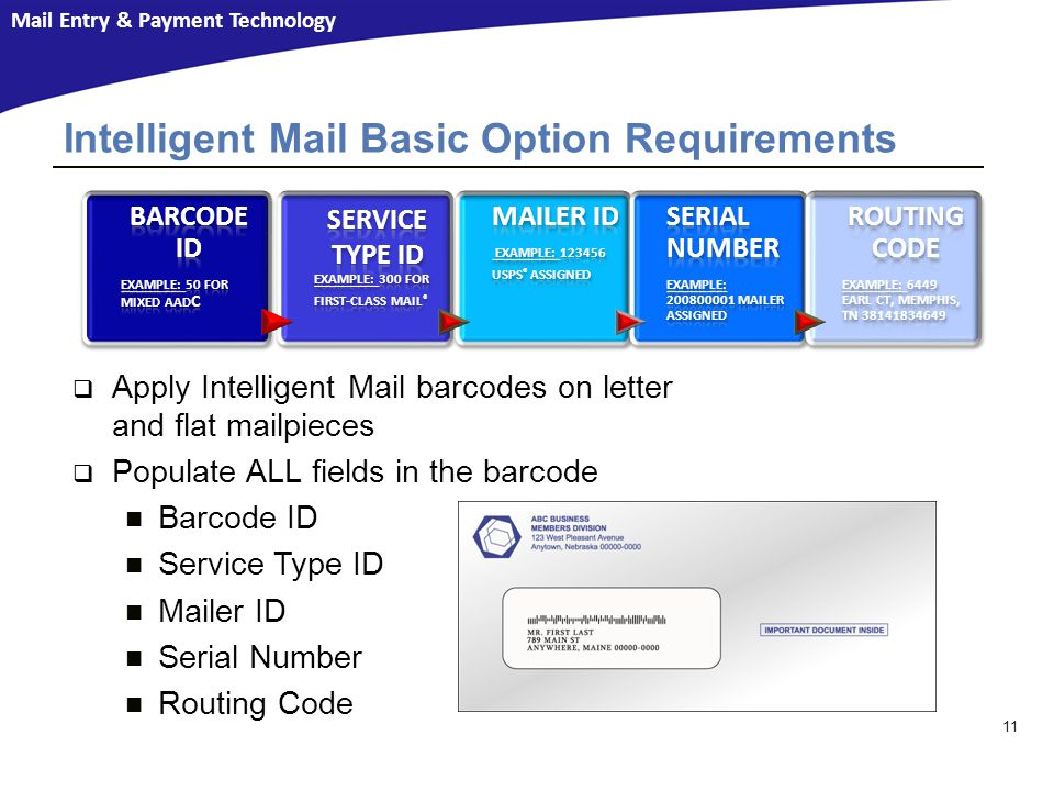 Intelligent Mail Basic Option Requirements