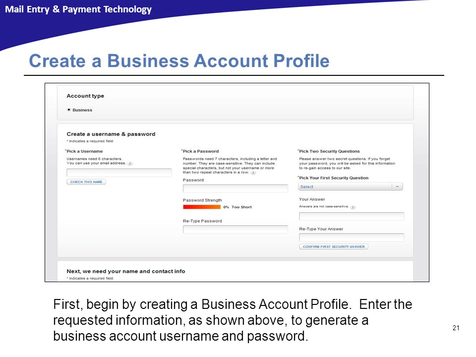 Create a Business Account Profile