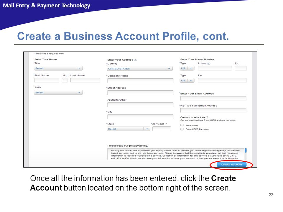 Create a Business Account Profile, cont.