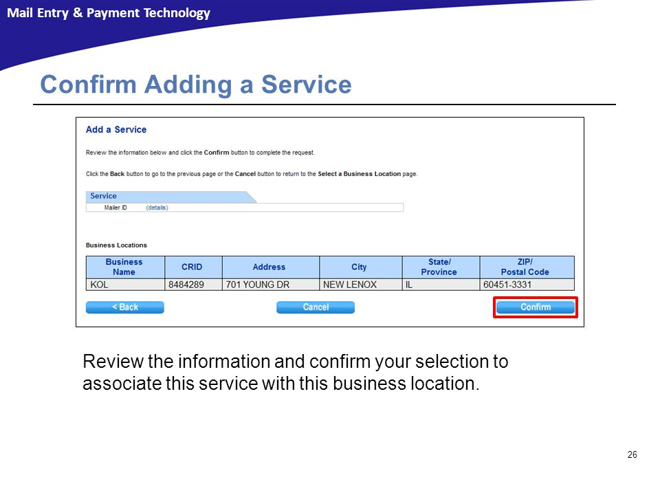 Confirm Adding a Service