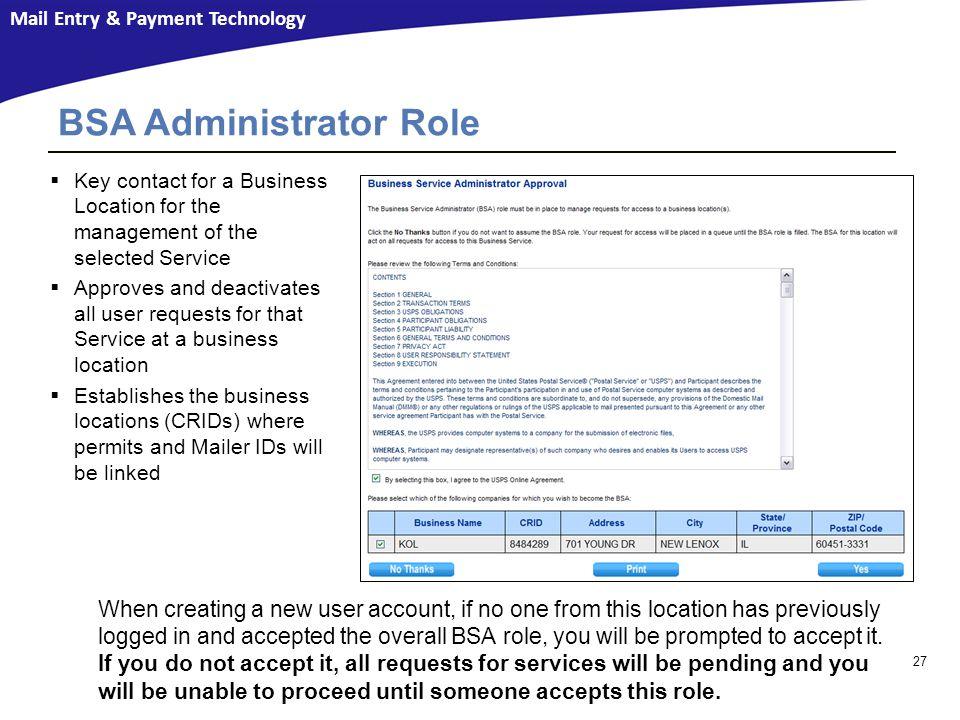 BSA Administrator Role