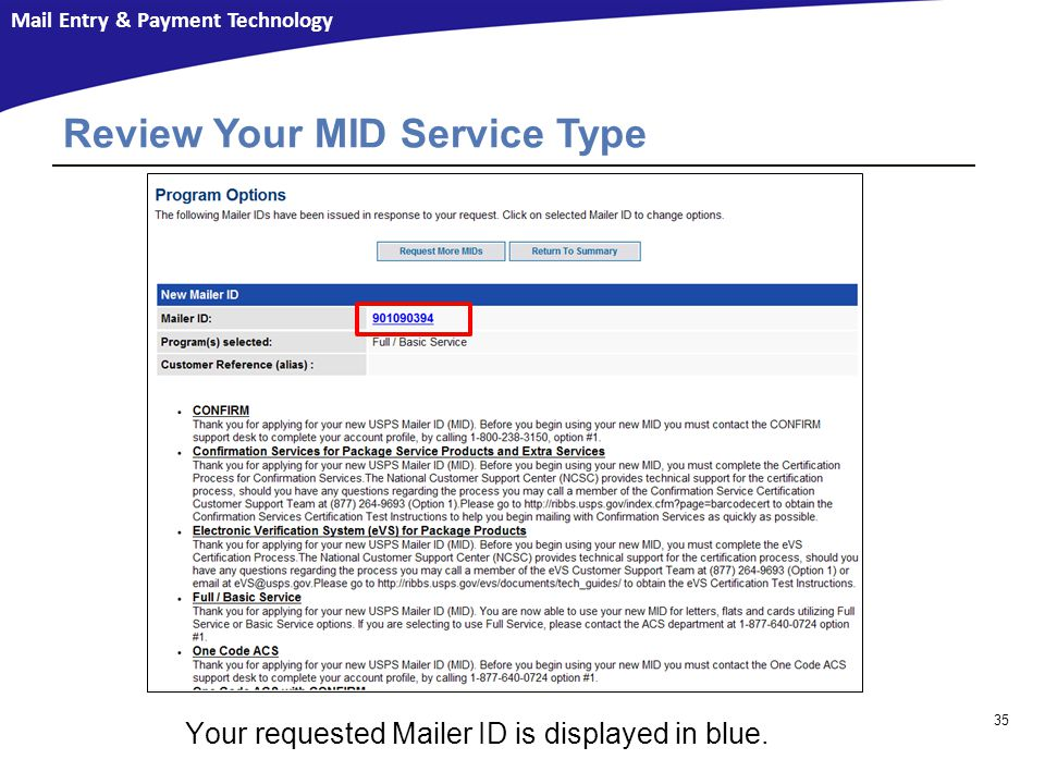 Review Your MID Service Type