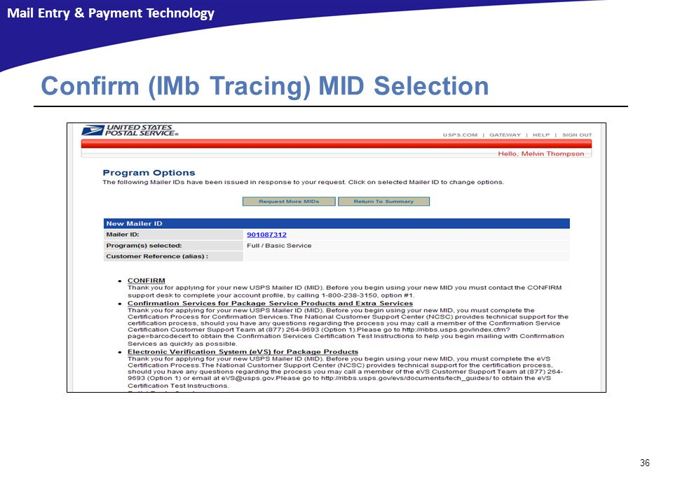 Confirm (IMb Tracing) MID Selection