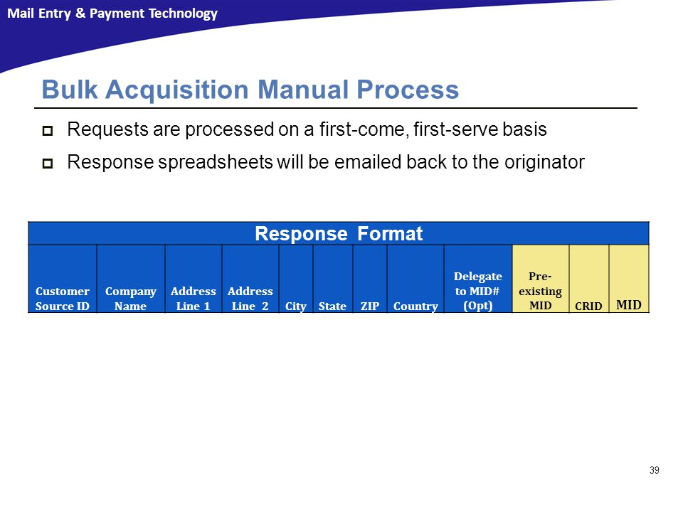 Bulk Acquisition Manual Process