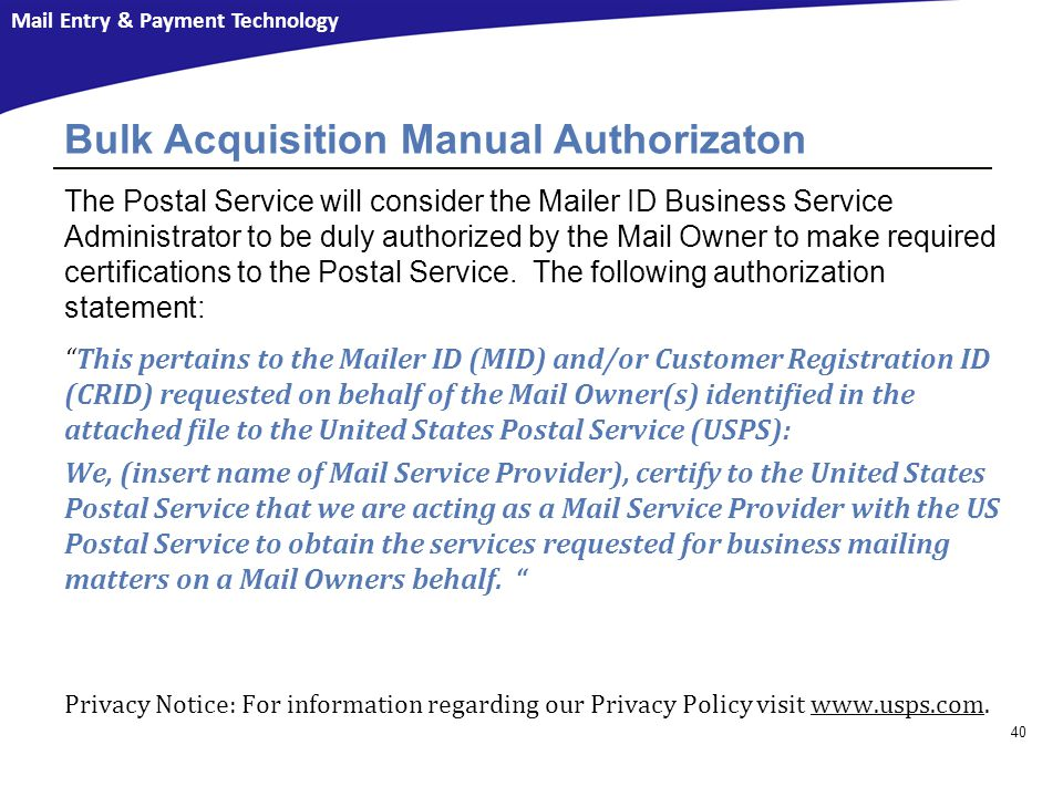 Bulk Acquisition Manual Authorizaton