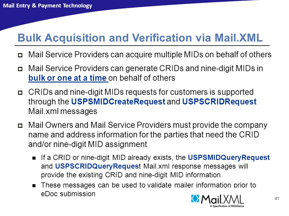 Bulk Acquisition and Verification via Mail.XML