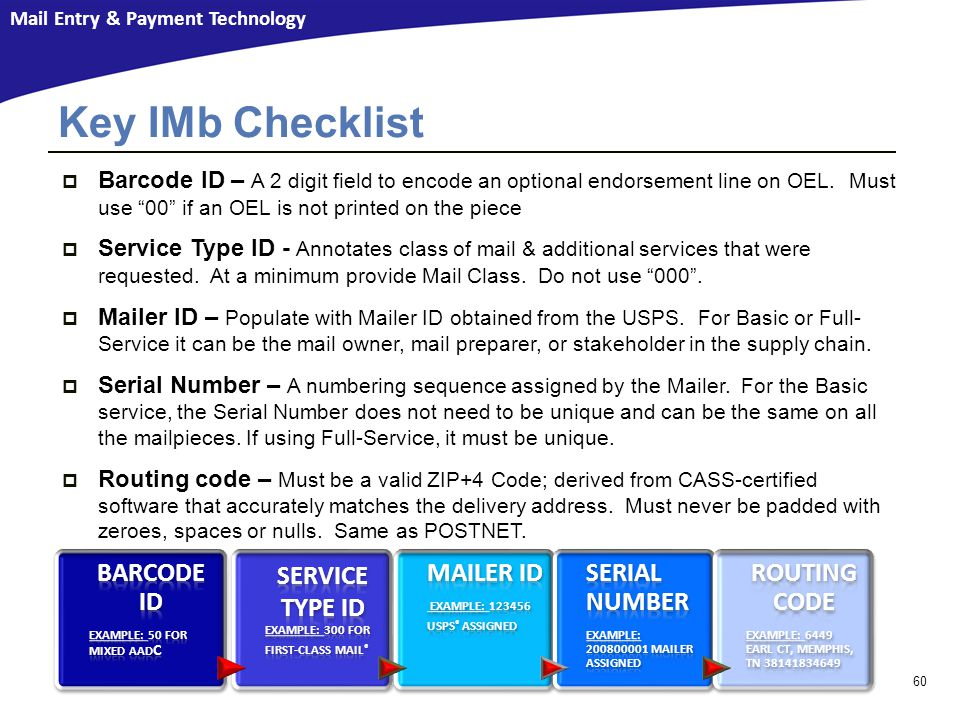 Key IMb Checklist Barcode ID Service Type ID Mailer ID Serial Number