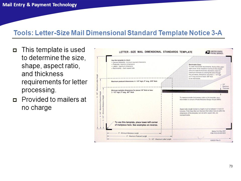 Tools: Letter-Size Mail Dimensional Standard Template Notice 3-A