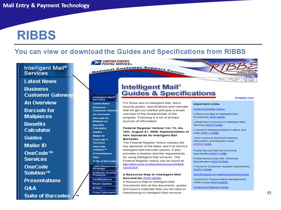 Resources RIBBS. You can view or download the Guides and Specifications from RIBBS.