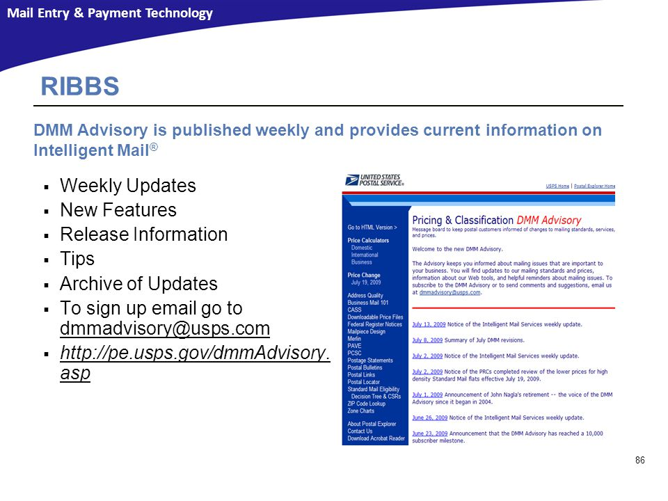 RIBBS Weekly Updates New Features Release Information Tips