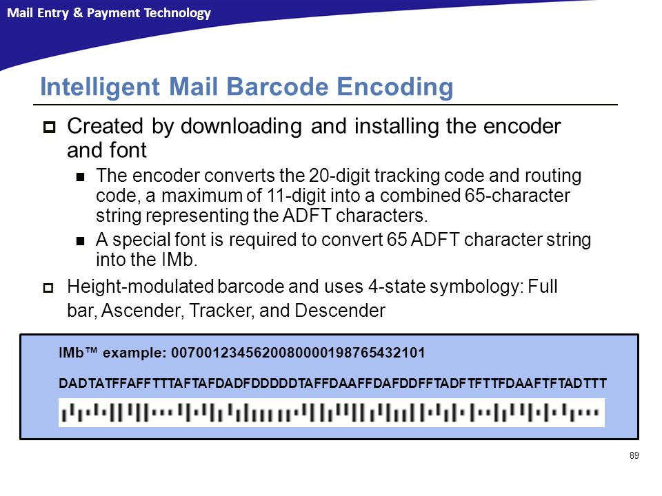 Intelligent Mail Barcode Encoding