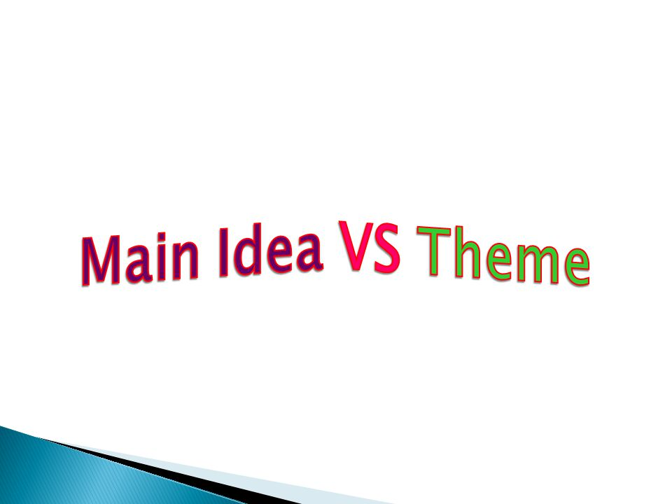 Main Idea VS Theme