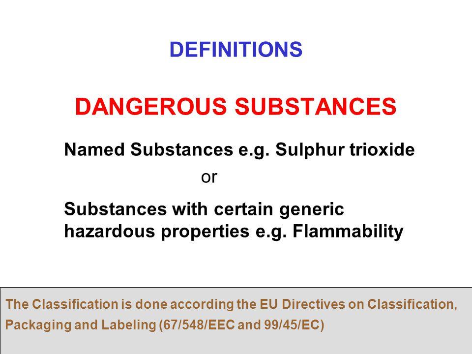 DANGEROUS SUBSTANCES DEFINITIONS