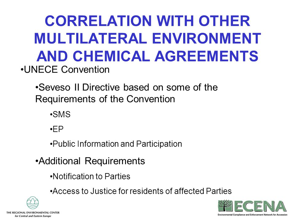 CORRELATION WITH OTHER MULTILATERAL ENVIRONMENT AND CHEMICAL AGREEMENTS