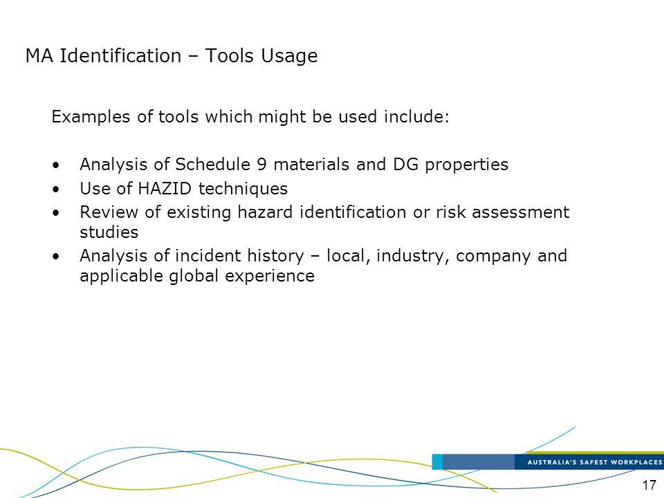 MA Identification – Tools Usage