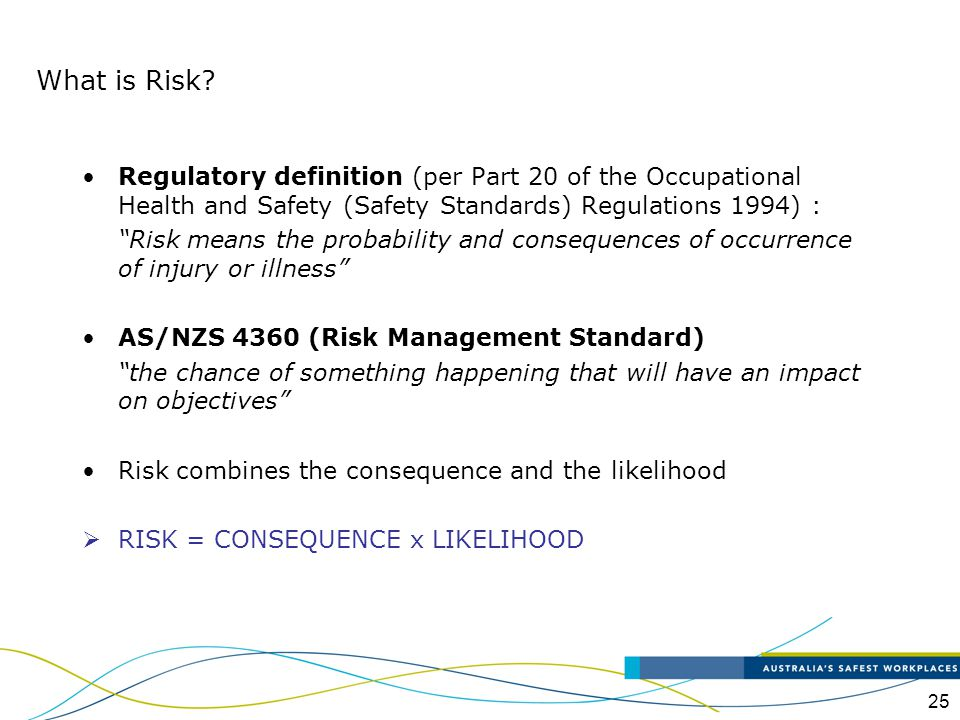 What is Risk Regulatory definition (per Part 20 of the Occupational Health and Safety (Safety Standards) Regulations 1994) :