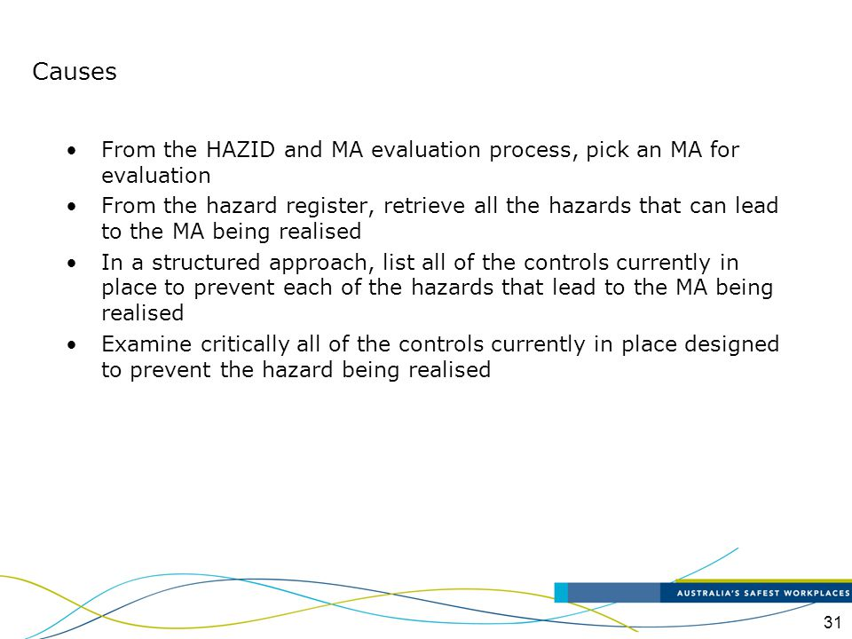 Causes From the HAZID and MA evaluation process, pick an MA for evaluation.