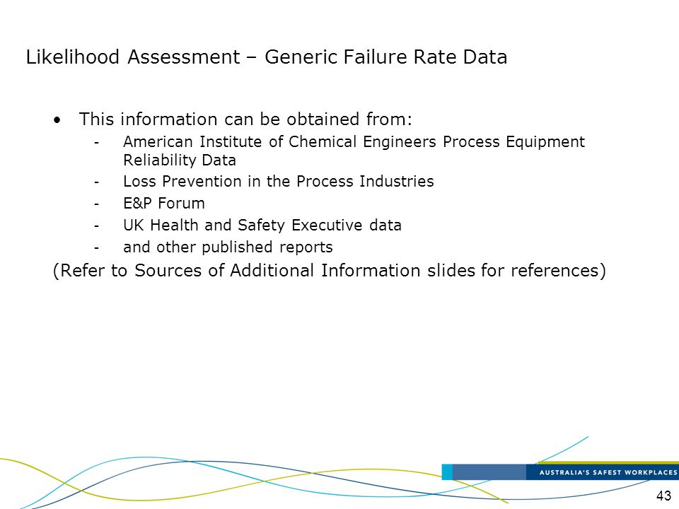 Likelihood Assessment – Generic Failure Rate Data