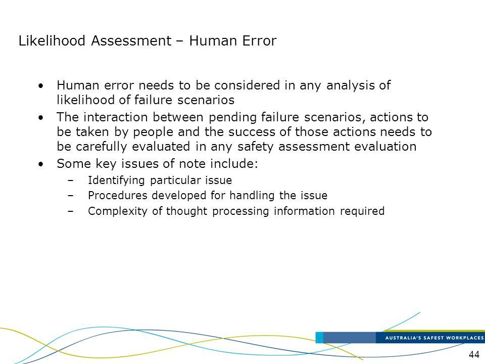 Likelihood Assessment – Human Error