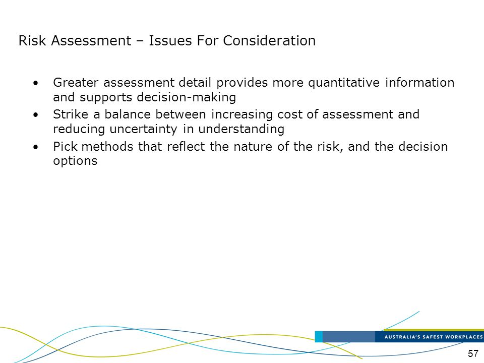 Risk Assessment – Issues For Consideration