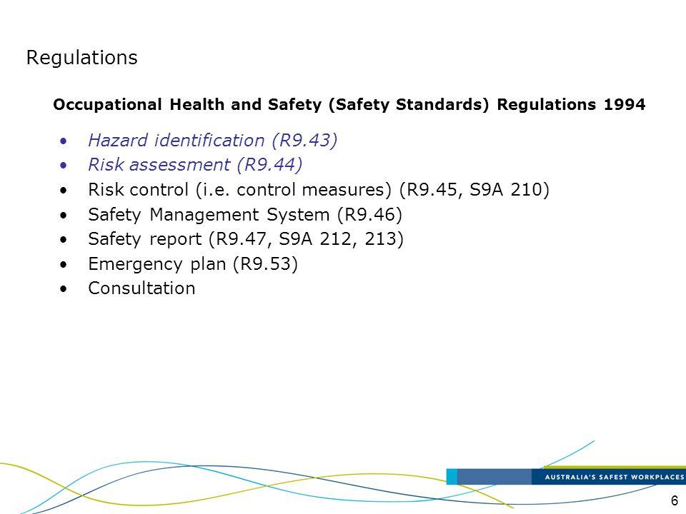Regulations Hazard identification (R9.43) Risk assessment (R9.44)