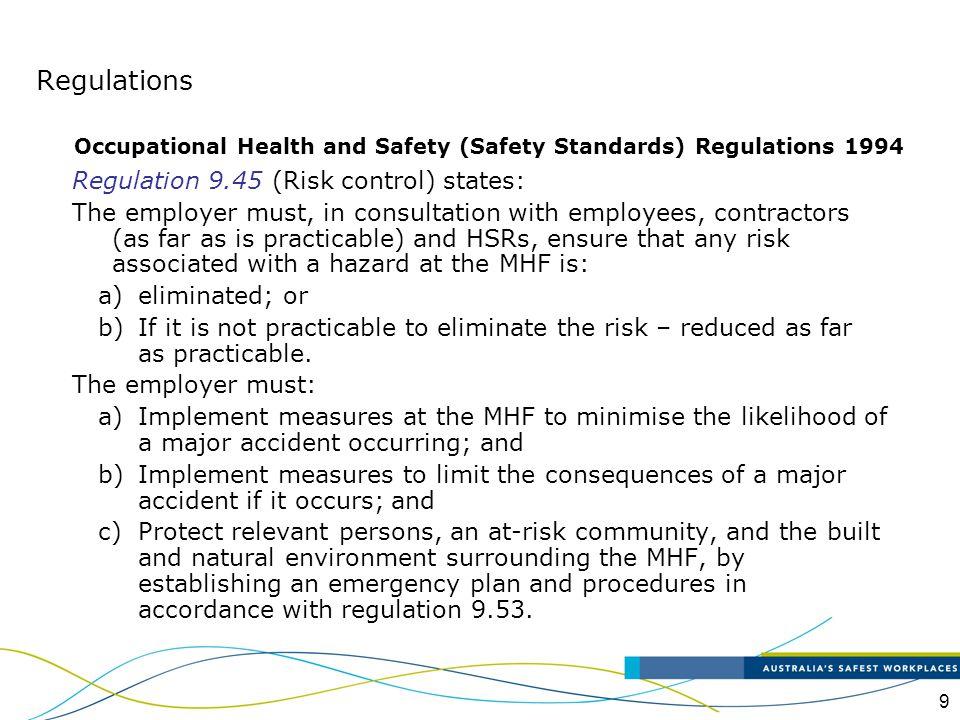 Regulations Regulation 9.45 (Risk control) states: