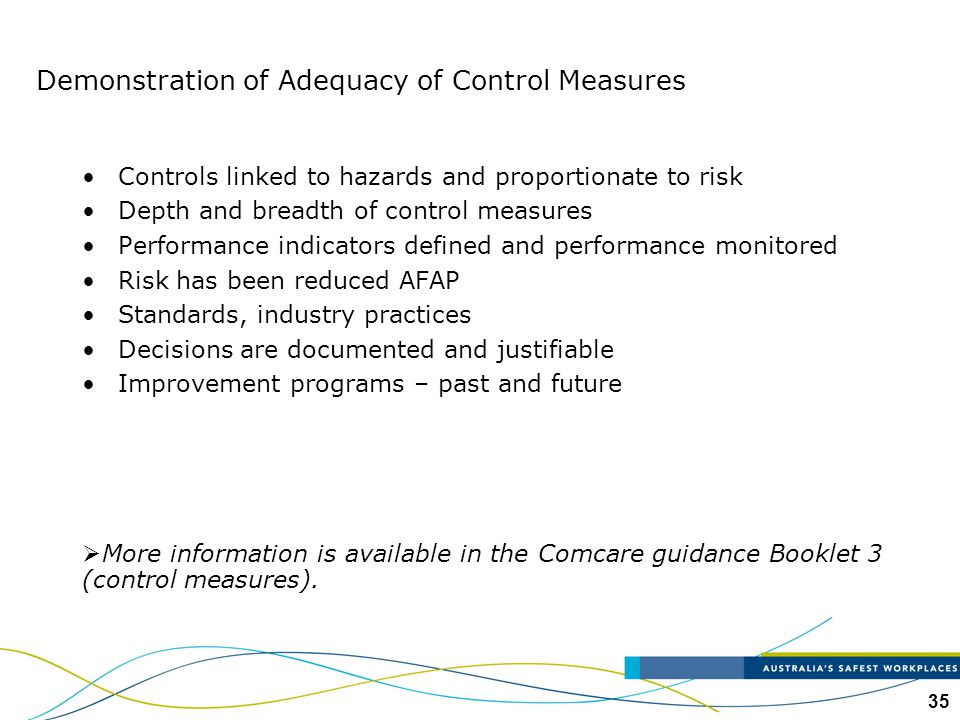 Demonstration of Adequacy of Control Measures