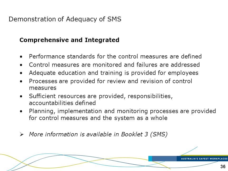 Demonstration of Adequacy of SMS