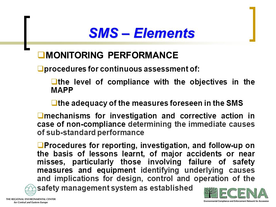 SMS – Elements MONITORING PERFORMANCE
