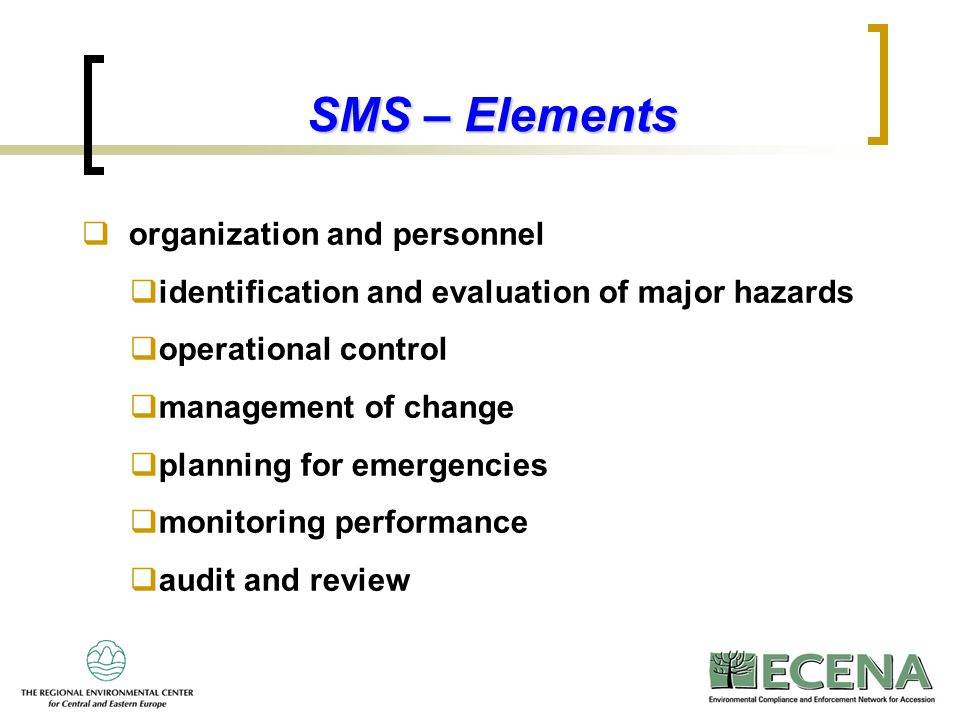 SMS – Elements organization and personnel