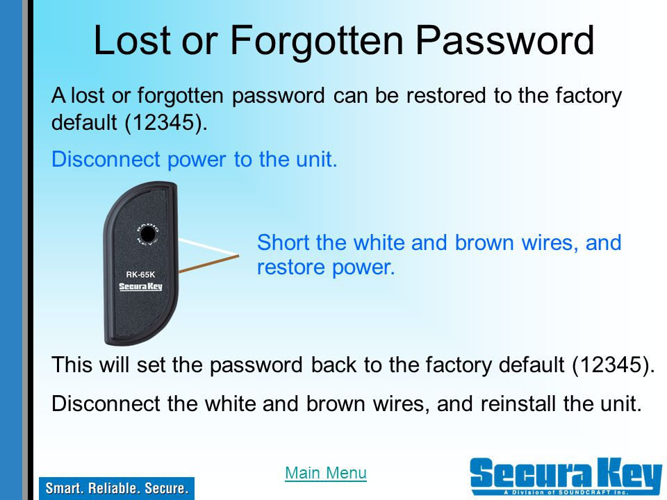 Lost or Forgotten Password