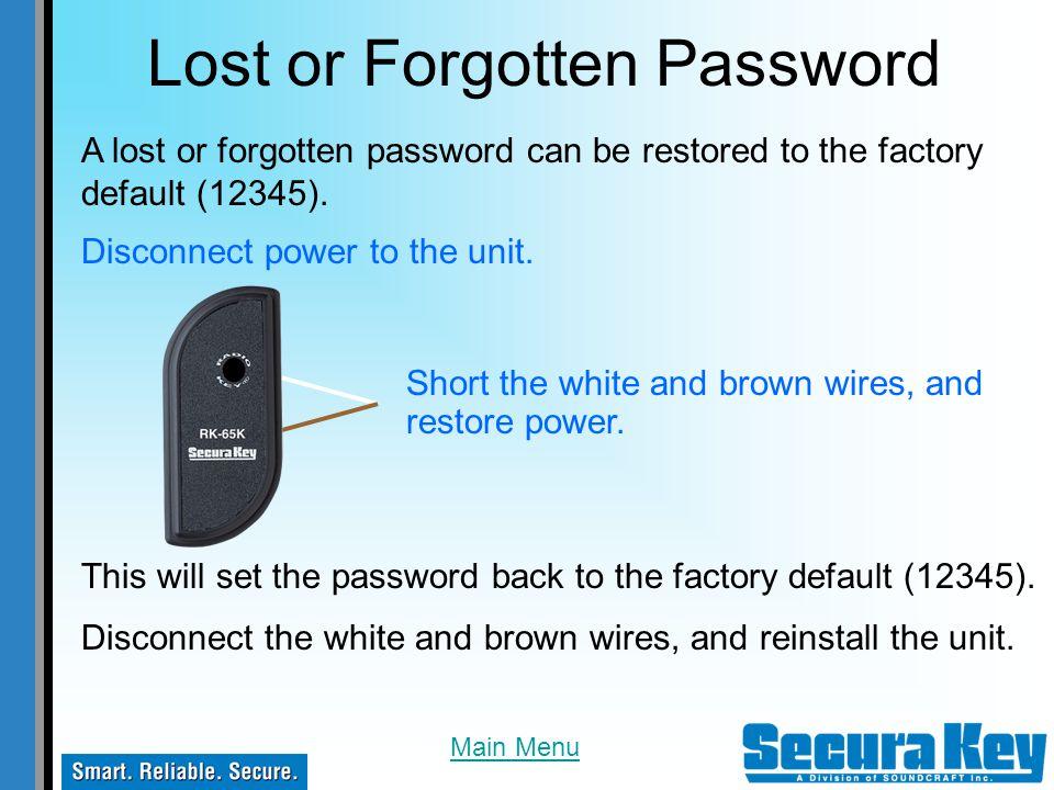 Lost or Forgotten Password